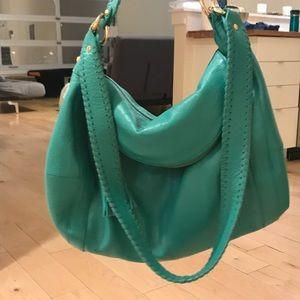 Onna Ehrlich Teal Leather purse with Tassle